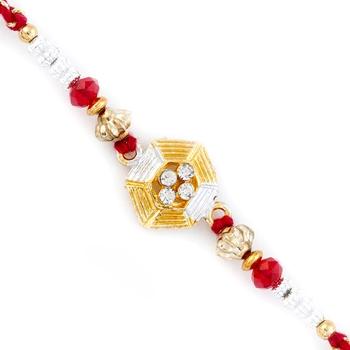 Red  And  Golden Beads Embellished Lovely Rakhi