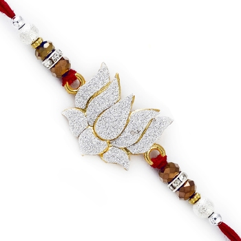 Lotus Shape White Crystal Rakhi