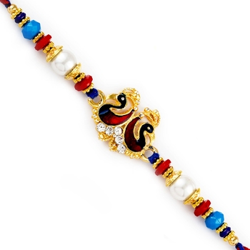 Multicolor Beads  And  Dual Swan Motif Rakhi