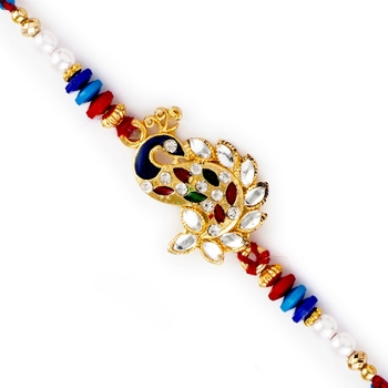 Kundan Studded Beautiful Peacock Design Rakhi