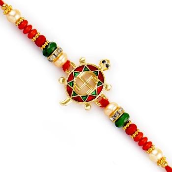 Multicolor Beads Swastik Motif Meenakari Rakhi