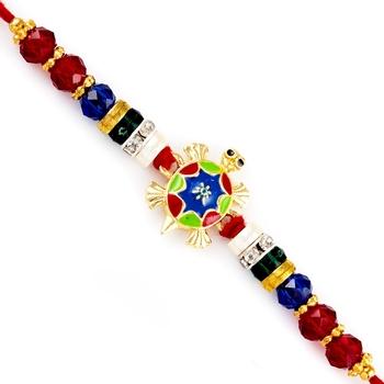Red  And  Blue Beads Fengshui Tortoise Rakhi