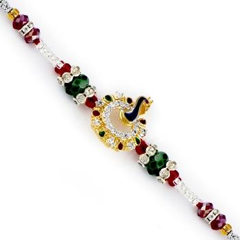 Gold Peacock Motif Multicolor Beads