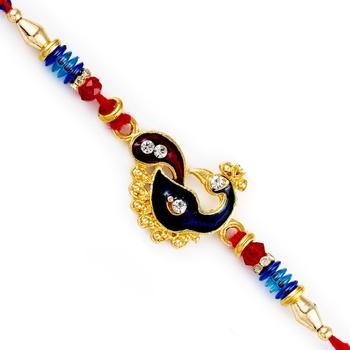 Red  And  Blue Beads Peacock Motif Rakhi
