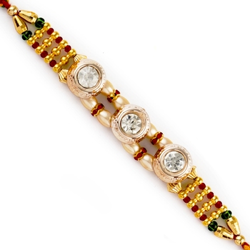 Tri Ad Studded Golden Beads Rakhi