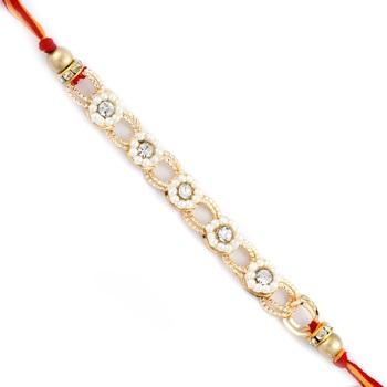 Penta Floral Beads Chain Style Rakhi