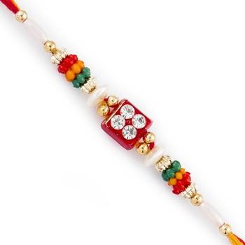 Quadra Ad Studded Multicolor Beads Rakhi