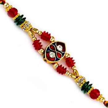 Crystal Beads Studded Meenakari Work Rakhi