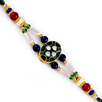 White Blue Beads  And  Ad Studded Meenakari Rakhi