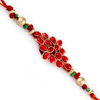 Beautiful Red  And  Golden Beads Rich Rakhi