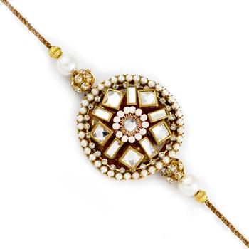 White Beads  And  Crystal Stone Studded Rakhi