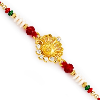 Stylsih Red  And  White Beads With Ad Studded Rakhi