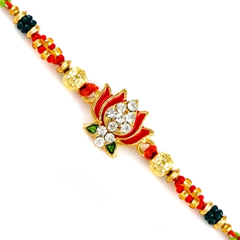 Ad Studded Lotus Motif Jewelled Rakhi