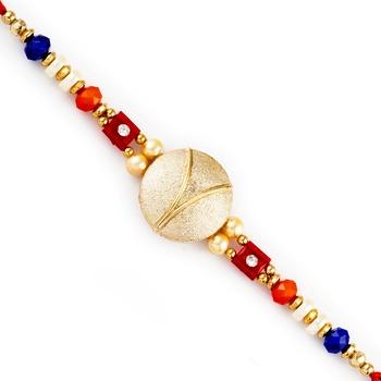 Golden Circular Base Multicolor Beads Studded Rakhi