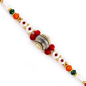 Beautiful Multicolor Round Beads Rakhi