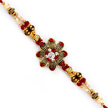Red  And  White Crystal Beads Studded Floral Motif Rakhi