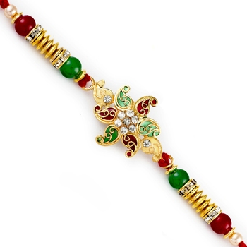 Red  And  Green Small Paisley Motif Rakhi