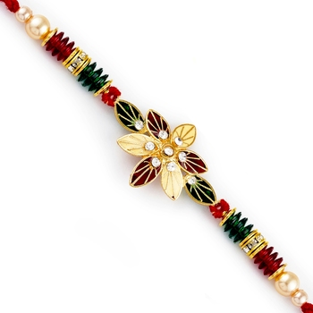 Red  And  Green Floral Motif  And  Beads Rakhi