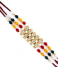 Ad  And  Multicolor Beads Studded Triple Thread Rakhi