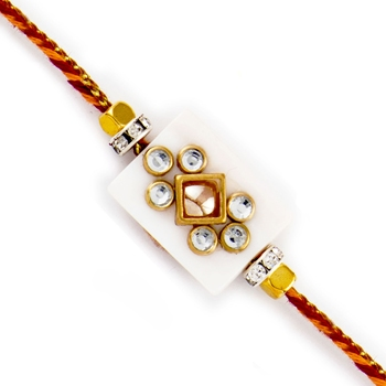 Ad Studded White Base Rakhi