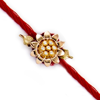 Golden Floral Design Ad Studded Rakhi