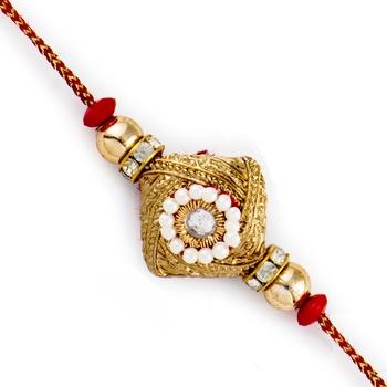 Golden  And  White Beads Studded Square Base Rakhi