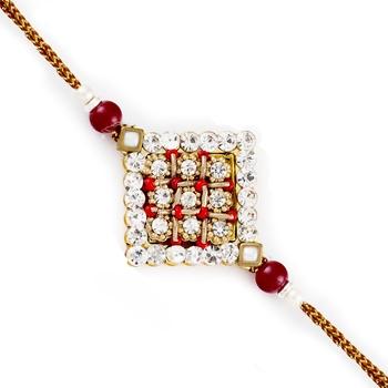 Ad  And  Crystal Red Beads Studded Rakhi