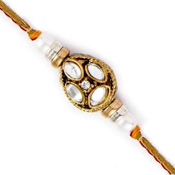 White Beads  And  Kundan Studded Brown Base Rakhi