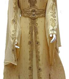 Cream Georgette Embroidered Stitched Islamic Kaftan