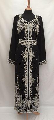 Black Georgette Embroidered Stitched Islamic Kaftan