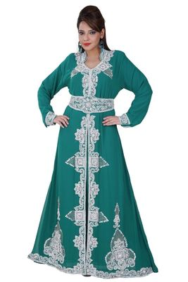 Blue Georgette Embroidered Stitched Islamic Kaftan