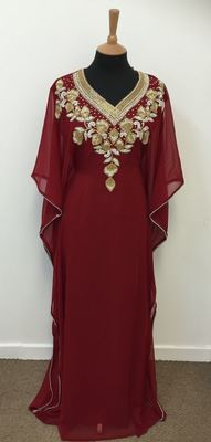 Maroon Georgette Embroidered Stitched Islamic Kaftan