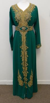 Green Georgette Embroidered Stitched Islamic Kaftan