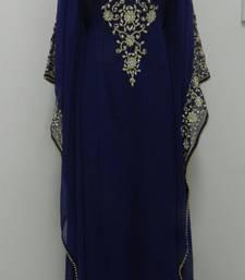 Dark Blue Georgette Embroidered Stitched Islamic Kaftan