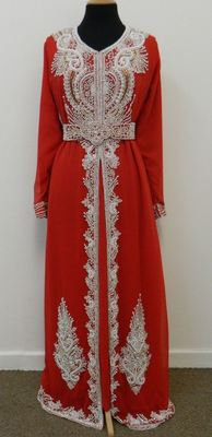 Red Georgette Embroidered Stitched Islamic Kaftan