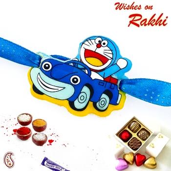 Cute Doremon In Car Blue Band Kids Rakhi
