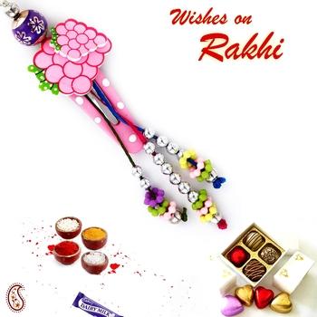 Multicolor Beads Studded Tic Tac Style Girls Lumba Rakhi