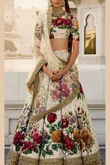 efc382e1f5705 Cream Colored Floral Print Partywear Designer Embroidered Art Silk Lehenga  Choli Set