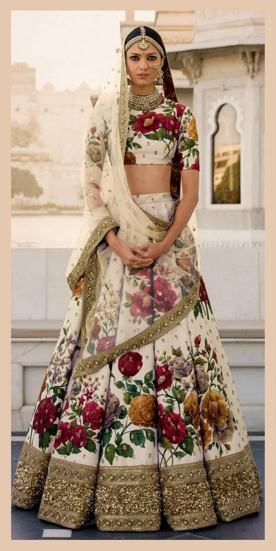 22c998829b Cream Colored Floral Print Partywear Designer Embroidered Art Silk Lehenga  Choli Set ...
