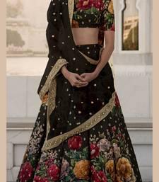 Buy Black Floral Print embroidered art silk semi stitched lehenga choli with dupatta lehenga-choli online