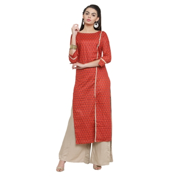 Red self design viscose salwar