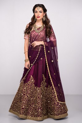 Purple Embroidered Silk Semi Stitched Lehenga