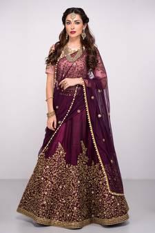 dac9313afa Attractive Purple Colored Partywear Designer Embroidered Pure Silk Lehenga  Choli Dupatta Set