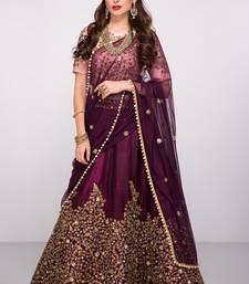 Buy Purple embroidered art silk unstitched lehenga with dupatta wedding-lehenga online