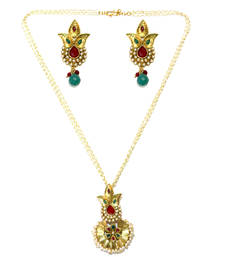 Buy Red & Green Basra Pearls Necklace Set necklace-set online