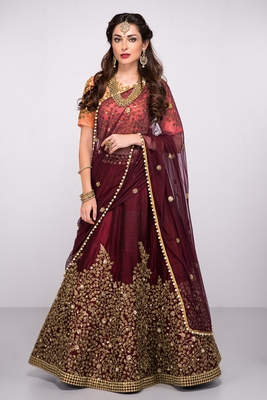 Attractive Maroon Colored Partywear Designer Embroidered Pure Silk Lehenga Choli Dupatta Set
