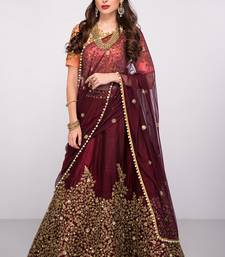 Buy Attractive Maroon Colored Partywear Designer Embroidered Pure Silk Lehenga Choli Dupatta Set lehenga-choli online