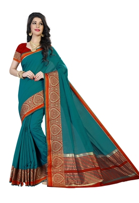 Turquoise woven polycotton saree with blouse