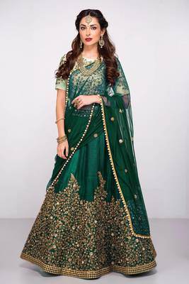 Attractive Green Colored Partywear Designer Embroidered Pure Silk Lehenga Choli Dupatta Set