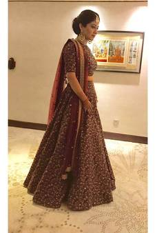 e157d985e6b Sparkling Maroon Colored Designer Heavy Embroidered Raw Silk Designer  Lehenga Choli Dupatta Set. Shop Now